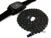 """COMBO DEAL! All Black 32"""" Lab Made Diamond Cluster Chain + Black """"Fully Loaded Carter"""" watch (Clear-Coated)"""