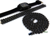 "COMBO DEAL! All Black 32"" Lab Made Diamond Cluster Chain + 3 Row Black Cluster Bracelet + Black ""Fully Loaded Carter"" watch (Clear-Coated)"