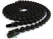 "COMBO DEAL! All Black 32"" Lab Made Diamond Cluster Chain + 1 Row Black Cluster Bracelet (Clear-Coated)"
