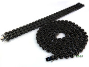 "COMBO DEAL! All Black 32"" Lab Made Diamond Cluster Chain + 3 Row Black Cluster Bracelet (Clear-Coated)"