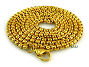 "24"" 18K Gold/Stainless Steel  ""Yurman"" Chain - 2mm (Clear-Coated)"
