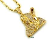 "14K Gold tone ""Shepherd"" White Lab Made Diamond Pendant + 30"" 14K Gold tone ""Ball Bead"" 2.5mm Chain (Clear-Coated)"