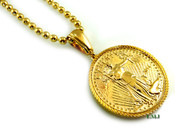 "14K Gold tone ""Liberty Coin"" Pendant + 30"" 14K Gold tone ""Ball Bead"" 2.5mm Chain (Clear-Coated)"