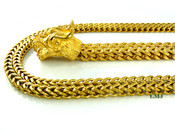 "COMBO DEAL! 18K Gold/Stainless Steel ""Enter the Dragon"" double-box Cuban Link Bracelet + 18K Gold/Stainless Steel double-box Cuban Link 24"" Chain w/Iced Out Buckle (Clear-Coated)"