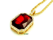 "14K Gold tone simulated ""Rectangle Ruby Solitaire"" Pendant + 24"" Rope Chain (Clear-Coated)"