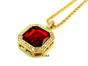 "14K Gold tone simulated ""Square Ruby Solitaire"" Pendant + 24"" Rope Chain (Clear-Coated)"