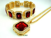 "COMBO DEAL! 14K Gold tone simulated ""Square Ruby Solitaire"" Pendant + Bracelet + 24"" Rope Chain (Clear-Coated)"