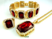 "14K Gold tone simulated ""Rectangle Ruby Solitaire"" Pendant + Bracelet + Ring + 24"" Rope Chain (Clear-Coated)"