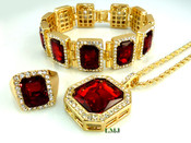 "COMBO DEAL! 14K Gold tone simulated ""Square Ruby Solitaire"" Pendant + Bracelet + Ring + 24"" Rope Chain (Clear-Coated)"