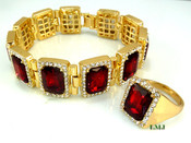 "14K Gold tone simulated ""Rectangle Ruby Solitaire"" Bracelet + Ring (Clear-Coated)"