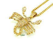 "14K Gold tone ""3D Scorpion"" White Lab Made Diamond Pendant + ""Yurman"" 2.5mm 24"" Chain (Clear-Coated)"