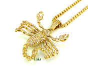 "14K Gold tone ""3D Scorpion"" White Lab Made Diamond Pendant + ""Yurman"" 2.5mm 24"" Chain (Clear-Coated)"