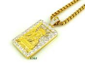 "18K Gold tone ""Lady Liberty Bar"" White Lab Made Diamond Pendant + ""Yurman"" 2.5mm 24"" Chain (Clear-Coated)"