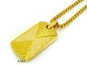 "18K Gold tone ""Pyramid Dog Tag"" White Lab Made Diamond Pendant + ""Yurman"" 2.5mm 24"" Chain (Clear-Coated)"