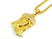 "18K Gold/Stainless Steel ""Medium Micro Jesus"" pendant + ""Yurman"" 24"" Chain - 2mm (Clear-Coated)"