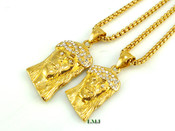 """COMBO DEAL! 18K Gold/Stainless Steel """"Small + Medium Micro Jesus"""" pendants + """"Yurman"""" 24"""" Chains - 2mm (Clear-Coated)"""