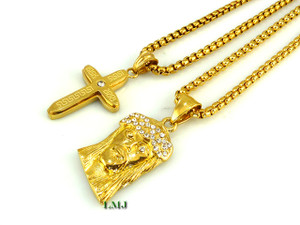 Combo deal 18k goldstainless steel small micro jesus cross 18k goldstainless steel small micro jesus cross pendants yurman 24 chains 2mm clear coated aloadofball Images