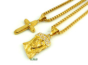 "COMBO DEAL! 18K Gold/Stainless Steel ""Small Micro Jesus + Cross"" pendants + ""Yurman"" 24"" Chains - 2mm (Clear-Coated)"