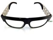 Silver tone Cuban Chain Link Glasses - Black Frame/Clear Lens