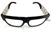 Silver tone Cuban Chain Link Glasses - Black Frame/Clear Lens