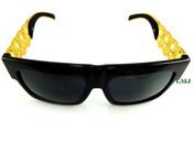 24K Gold tone Cuban Chain Link Sunglasses - Black Frame/Black Lens