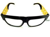 24K Gold tone Cuban Chain Link Glasses - Black Frame/Clear Lens