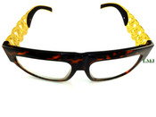 24K Gold tone Cuban Chain Link Glasses - Brown Tortoise Frame/Clear Lens