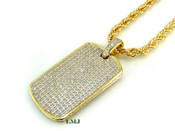 "14K Gold tone ""Fully Loaded Dog Tag"" White Lab Made Diamond Pendant + 24"" Rope Chain (Clear-Coated)"