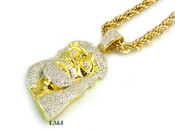 "14K Gold tone ""Classic Jesus"" White Lab Made Diamond Pendant + 30"" Rope Chain (Clear-Coated)"