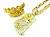 """COMBO DEAL! 14K Gold tone """"Top/Bottom Grilles + Classic Jesus"""" White Lab Made Diamond Pendant + 30"""" Rope Chain (Clear-Coated)"""