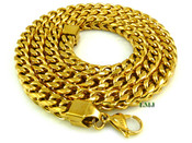 "18K Gold/Stainless Steel Cuban Box Link Chain 30"" (Clear-Coated)"