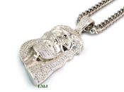 """925 Silver """"Classic Jesus"""" White Lab Made Diamond Pendant + 24"""" Stainless Steel Franco Chain"""