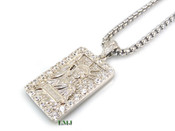 "925 Silver ""Lady Liberty Bar"" White Lab Made Diamond Pendant + Stainless Steel ""Yurman"" 2.5mm 24"" Chain"