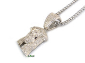 "925 Silver ""Super Micro Jesus Head"" White Lab Made Diamond Pendant + Stainless Steel ""Yurman"" 2.5mm 24"" Chain"