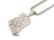 "925 Silver ""Fully Loaded Micro Jesus Head"" White Lab Made Diamond Pendant + Stainless Steel ""Yurman"" 2.5mm 24"" Chain"