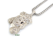 "925 Silver ""Micro Jesus Head Style #2"" White Lab Made Diamond Pendant + Stainless Steel ""Yurman"" 2.5mm 24"" Chain"