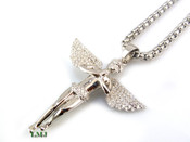 "925 Silver ""Micro Angel"" White Lab Made Diamond Pendant + Stainless Steel ""Yurman"" 2.5mm 24"" Chain"