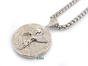 "925 Silver ""Micro Angel"" White Lab Made Diamond Circle Pendant + Stainless Steel ""Yurman"" 2.5mm 24"" Chain"