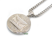"925 Silver ""Last Supper"" White Lab Made Diamond Pendant + Stainless Steel ""Yurman"" 2.5mm 24"" Chain"