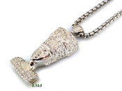 """925 Silver """"Egyptian Queen"""" White Lab Made Diamond Pendant + Stainless Steel """"Yurman"""" 2.5mm 24"""" Chain"""