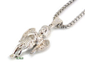 "925 Silver ""Micro Angel Style #2"" White Lab Made Diamond Pendant + Stainless Steel ""Yurman"" 2.5mm 24"" Chain"