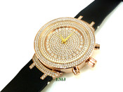 """14K Rose Gold tone """"Fully Loaded Royalty"""" watch (Clear-Coated)"""