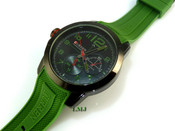 "Black tone ""GQ Tactical"" Watch w/Olive Green silicone band"