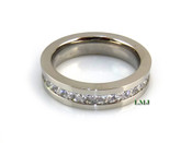 "Stainless Steel ""360 Princess Cut"" Lab Made Diamond Eternity Ring"