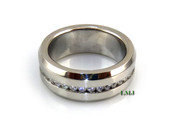 "Stainless Steel ""360 Round Cut"" Lab Made Diamond Eternity Ring"