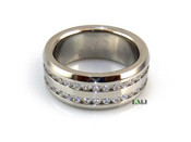 "Stainless Steel ""360 Double Row Round Cut"" Lab Made Diamond Eternity Ring"
