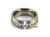 """Stainless Steel """"Brushed 360 Round Cut"""" Lab Made Diamond Eternity Ring"""