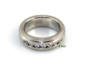 "Stainless Steel ""Classy 7"" Lab Made Diamond Eternity Ring"