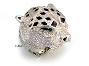 "925 Silver ""Panther Head"" White Lab Made Diamond CUSTOM Ring"