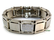 "High-Polished Stainless Steel Iced ""Ice Block"" Lab Made Diamond Bracelet - 8.5"" long"